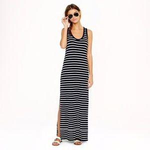J. Crew Maxi Tank Dress In Black Stripe